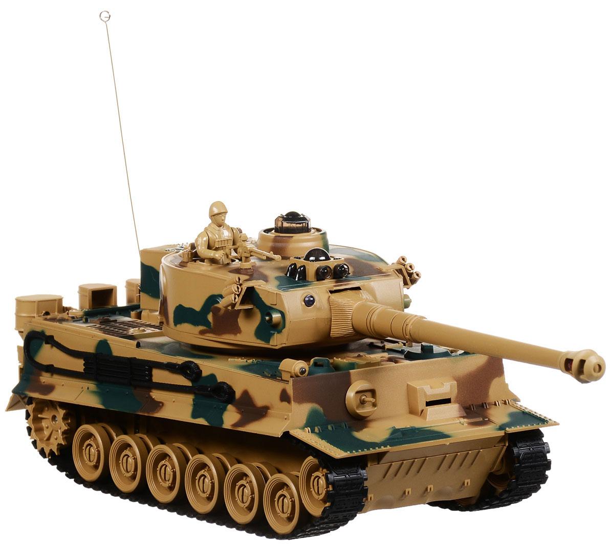 Пламенный мотор Танк на радиоуправлении Tiger масштаб 1:2887553Радиоуправляемый танк бренда Пламенный мотор будет не безразличен любому мальчику, даже некоторым взрослым. Танк выполнен с потрясающей доскональностью к каждой детали на кузове и других, более мелких частях. Башня танка может вращаться направо и налево. Радиус действия пульта управления довольно высок и составляет целых 12 метров. Для имитации реалистичных действий предусмотрена возможность управления движением танка и башней одновременно. Регулируемая пушка опускается и поднимается. Кроме того танк преодолевает подъемы. Реалистичные световые и звуковые эффекты при стрельбе придают огромную долю реалистичности игрушке. Танк может двигаться: вправо, влево, вперед, назад, а также вращаться на месте.