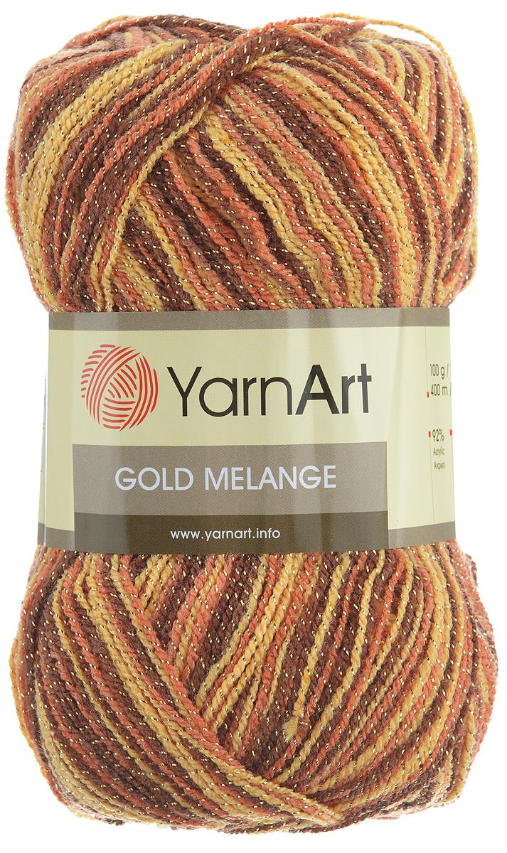 Пряжа для вязания YarnArt Gold Melange, цвет: коричневый, светло-коричневый (9505), 400 м, 100 г, 5 шт372102_9505Пряжа YarnArt Gold Melange изготовлена из акрила с добавлением металлик полиэстера. Цвета плавно переходят один в другой, что очень удобно при вязании жаккардовым узором. Пряжа меланжевая, поэтому подходит для изделий под любой гардероб, идеальна для вязания шарфов и декоративной отделки вязаного изделия. Пряжа окрашена равномерно с помощью стойких высококачественных красителей, нить плотно скручена, полиэстер не выбивается в процессе вязания, петли ложатся равномерно. YarnArt Gold Melange - декоративная пряжа с широкой цветовой палитрой, предназначенная для демисезонной одежды. Акрил защищает готовое изделие от деформации после стирки и сушки. Вяжется легко и быстро. Даже новичкам доступно сделать неповторимое изделие. Стильная пряжа с привлекательным, благородным блестящим эффектом. Рекомендованные спицы и крючок № 2,75-3,25. Состав: 92% акрил, 8% металлик полиэстер.