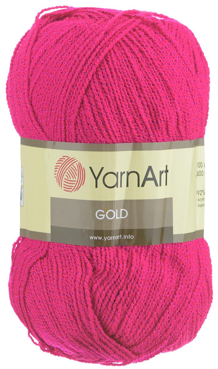 Пряжа для вязания YarnArt Gold, цвет: малиновый (9031), 400 м, 100 г, 5 шт372007_9031Мерцающая нитка с люрексом для вязания YarnArt Gold равномерно окрашена с помощью стойких высококачественных красителей, нить плотно скручена, люрекс не выбивается в процессе вязания, петли ложатся равномерно. YarnArt Gold - декоративная пряжа с широкой цветовой палитрой, предназначенная для демисезонной одежды. Акрил защищает готовое изделие от деформации после стирки и сушки. Нить гибкая и эластичная, хорошо тянется, превосходно сохраняет форму после носки. Изысканная пряжа для создания вечерних нарядов выглядит дорого и стильно. Рекомендуется для вязания на спицах 2,75 мм и крючках 3,25 мм. Состав: 92% акрил, 8% металлик (полиэстер).