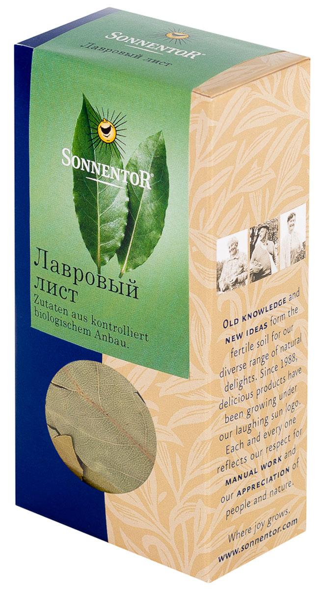 Sonnentor Лавровый лист, 10 гNT335Листья лавра благородного издавна венчают головы победителей и блюда гурманов. Целые листья лавра сушат и в таком виде используют в качестве пряности. У них приятный аромат и чуть горький вкус. Качественные листья после сушки должны сохранять оливковый цвет, как и в нашей продукции. Советы по употреблению и приготовлению: Лавровый лист - одна из универсальных суповых пряностей, которую используют в мясных, рыбных, овощных и грибных супах. Особенно хорошо подходит он к картофельным блюдам. Состав: 100% лавровый лист.