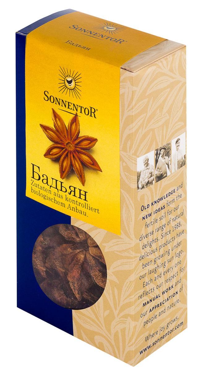 Sonnentor Бадьян, 25 гNT398Sonnentor Бадьян - это не только красиво, но и вкусно! На вкус бадьян сладковато-горьковат, острый, вяжущий, по запаху напоминает анис, но запах бадьяна значительно ароматнее, тоньше и сложнее. Его часто используют в кулинарии, парфюмерии и народной медицине. Придает чудесный вкус сладким пирожным и компотам. В китайской кухне анис звездами используют в супах, тушеных овощах, с уткой с добавление соевого соуса. Традиционно анис звездами используют для приготовления глинтвейна, можно также добавить одну звездочку аниса в чай. Данную специю также используют для пирогов, пряников, кексов и печенья.