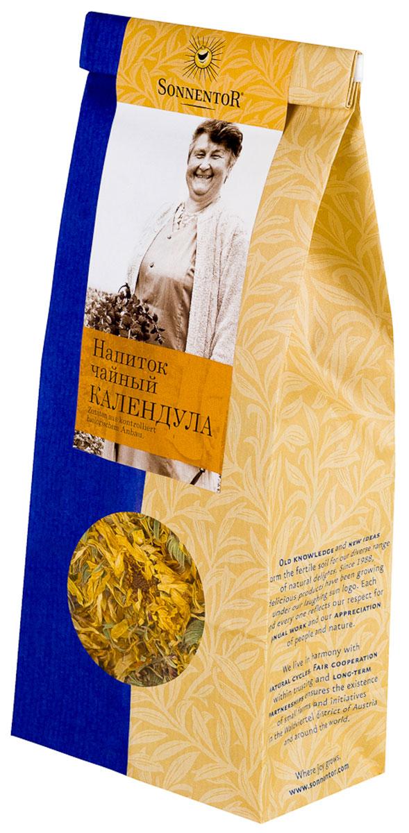 Sonnentor Календула листовой травяной чай, 50 гNT214Цветки для чая Sonnentor Календула собираются вручную, чтобы сохранить все их богатые свойства. Цветки заливают кипящей водой и настаивают 5-7 минут. Получается ароматный, но слегка горьковатый чай, имеющий мягкое, нежно-терпкое послевкусие. Календула знаменита входящими в ее состав витаминами и микроэлементами. Календула положительно воздействует на нервную систему при неврозах и стрессах. Многие заболевания желудочно-кишечного тракта излечиваются при участии настойки календулы.