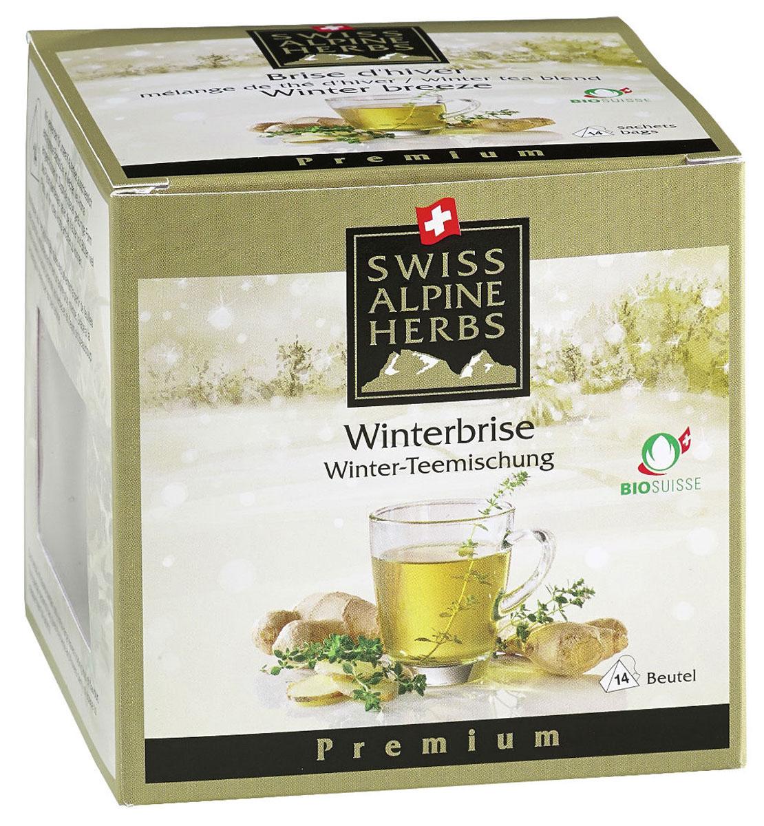 Swiss Alpine Herbs Зимний с имбирем травяной чай в пакетиках, 14 штS8017Элитный чай Swiss Alpine Herbs Зимний в пирамидках - это прекрасное сочетание трав, придающих чаю неповторимый аромат. Собранные на альпийских лугах в Швейцарии тимьян лимонный и имбирь известны своими целебными свойствами.