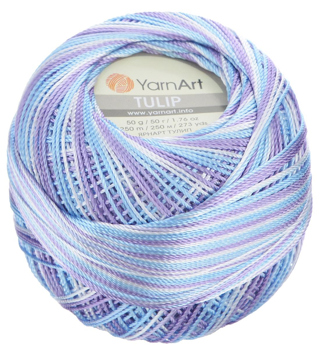 Пряжа для вязания YarnArt Tulip, цвет: белый, голубой, сиреневый (449), 250 м, 50 г, 6 шт372017_449Пряжа для вязания YarnArt Tulip изготовлена из 100% микрофибры. Пряжа приятная на ощупь, легкая, тонкая и упругая. Хорошо смотрится практически в любых узорах, не косит, послушно ложится в узоры и спицами, и крючком. Ниточка блестящая и такими же блестящими получаются изделия из нее. Нить удобна и практична тем, что хорошо смотрится как в объемных рельефных узорах, так и в самой простой чулочной вязке. Пряжа Tulip - классический вариант демисезонной пряжи, идеальна для создания летней одежды, купальников, аксессуаров, бижутерии, салфеток, ирландского кружева, жгутов и т.д. Нежная текстура ниток подходит для создания одежды детям. Изделия получаются легкими, не деформируются и не вытягиваются ни при вязании, ни при последующей носке. Микрофибра гипоаллергенна, поэтому вязаные вещи подходят даже для чувствительной кожи. Богатая цветовая гамма однотонных и меланжевых расцветок порадует рукодельниц и удовлетворит даже самых взыскательных модниц. Нить очень тонкая,...