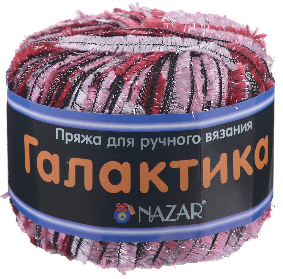 Пряжа для вязания Nazar Галактика, цвет: светло-розовый, малиновый (2116), 125 м, 50 г, 10 шт349007_2116Пряжа для вязания Nazar Галактика изготовлена из полиэстера с добавлением люрекса. Это очень популярная декоративная пряжа для ручного вязания. Из нее получаются модные и очень красивые палантины, роскошные пелерины и нарядные кофточки. Пряжа очень красивая, вяжется легко и быстро. Может использоваться как основная или отделочная пряжа. Если сложить 1 нить Галактики с 1-й нитью классической пряжи, подходящей по цвету и фактуре, вы можете создать свое неповторимое полотно. Для вязания рекомендуется крючок №5-8 и спицы №5-6. Состав: 80% полиэстер, 20% люрекс. Ширина нити: 10 мм. Комплектация: 10 шт.