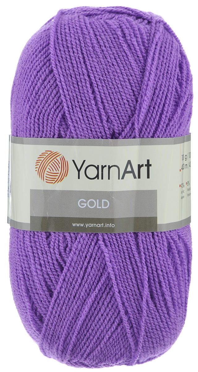 Пряжа для вязания YarnArt Gold, цвет: фиалка (9002), 400 м, 100 г, 5 шт372007_9002Мерцающая нитка с люрексом для вязания YarnArt Gold равномерно окрашена с помощью стойких высококачественных красителей, нить плотно скручена, люрекс не выбивается в процессе вязания, петли ложатся равномерно. YarnArt Gold - декоративная пряжа с широкой цветовой палитрой, предназначенная для демисезонной одежды. Акрил защищает готовое изделие от деформации после стирки и сушки. Нить гибкая и эластичная, хорошо тянется, превосходно сохраняет форму после носки. Изысканная пряжа для создания вечерних нарядов выглядит дорого и стильно. Рекомендуется для вязания на спицах 2,75 мм и крючках 3,25 мм. Состав: 92% акрил, 8% метанит.