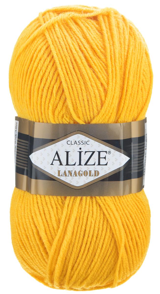 Пряжа для вязания Alize Lanagold, цвет: ярко-желтый (216), 240 м, 100 г, 5 шт364095_216Alize Lanagold - это полушерстяная пряжа для ручного вязания. Нить плотно скручена, гибкая, послушная, не пушится, не электризуется, аккуратно ложится в петли и не деформируется после распускания. Стойкое равномерное окрашивание обеспечивает широкую палитру оттенков. Соотношение шерсти и акрила - формула практичности. Высокие тепловые характеристики сочетаются с эстетикой, носкостью и простотой ухода за вещью. Классическая пряжа для зимнего сезона, может использоваться для детской и взрослой одежды. Alize Lanagold - универсальная пряжа, которая будет хорошо смотреться в узорах любой сложности. Рекомендуемый размер спиц 4-6 мм. Состав: 49% шерсть, 51% акрил.