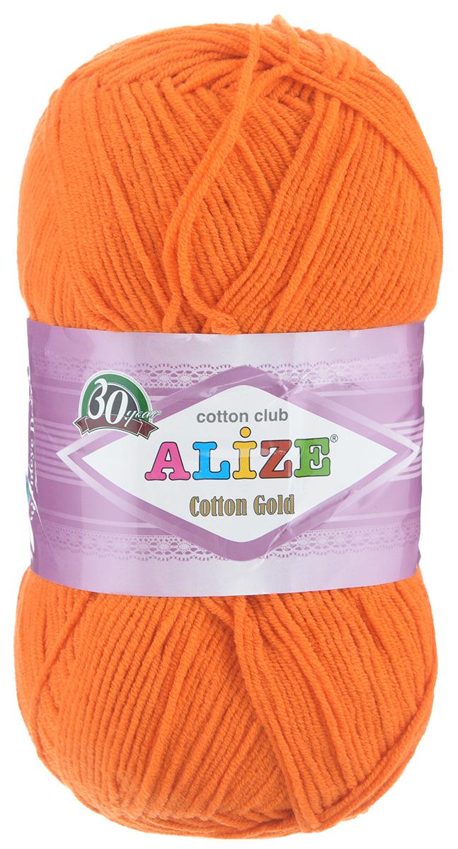 Пряжа для вязания Alize Cotton Gold, цвет: оранжевый (225), 330 м, 100 г, 5 шт697548_225Пряжа для вязания Alize Cotton Gold - это классическая демисезонная пряжа из хлопка с акрилом. Данная пряжа отлично подойдет для изделий осень-весна. Также подходит для вязания летних вещей взрослым и детям. Мягкая и бархатистая на ощупь. Полотно получается пластичным, мягким, все переплетения ровные. Рекомендуемый размер спиц: №3,5-5. Рекомендуемый размер крючка: №2-4. Состав: 55% хлопок, 45% акрил.