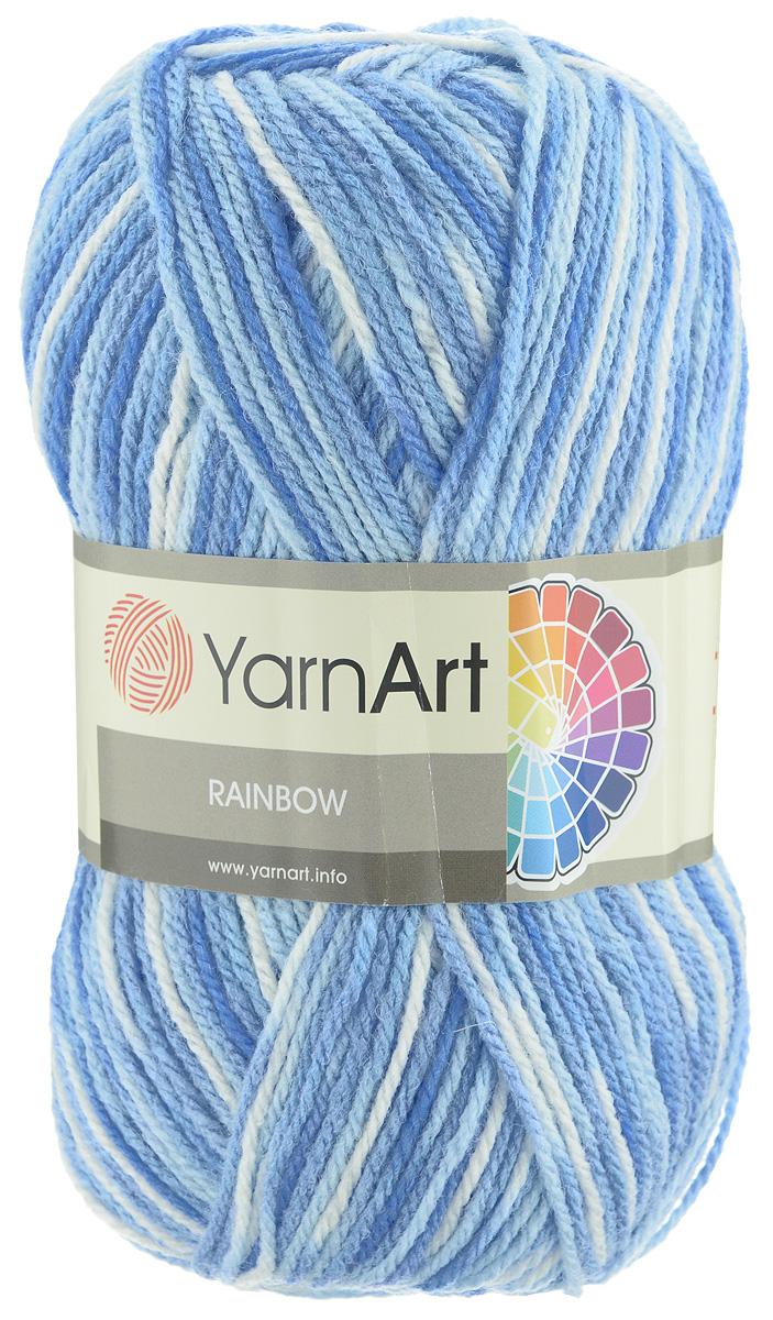 Пряжа для вязания YarnArt Rainbow, цвет: белый, синий, голубой (0171), 310 м, 100 г, 5 шт372030_0171В состав пряжи YarnArt Rainbow входит шерсть и волокна акрила. Такой сбалансированный состав обеспечивает готовым вещам удобство и практичность в использовании, а для мастериц спиц и крючка - возможность показать свое искусство. Классическая демисезонная пряжа YarnArt Rainbow - просто находка для вывязывания плотных теплых вещей. Наличие большого выбора расцветок пряжи предоставляет неограниченный простор для воплощения в реальность самых сложных узоров и мотивов. Качественная деликатная нить послушна и в плотной вязке, и в нежном ажуре. Состав: 80% акрил, 20% шерсть. Рекомендованные спицы и крючок 4 мм. Комплектация: 5 мотков.