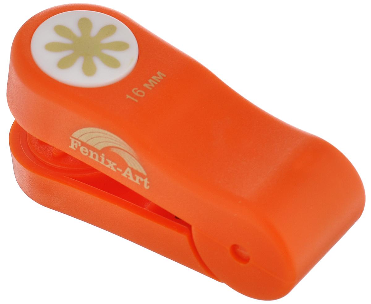 Панч-дырокол Феникс+ Цветочек, цвет: оранжевый, 16 мм37210Панч-дырокол Феникс+ Цветочек, изготовленный из прочного пластика, предназначен для художественно-оформительских работ. Данное приспособление создает тиснение на бумаге, с его помощью можно украсить подарочные открытки, конверты, этикетки, закладки, пригласительные, а также другие изделия из бумаги и картона. Размер панч-дырокола: 6,6 см х 2,4 см х 3,2 см. Диаметр готовой фигурки: 16 мм.