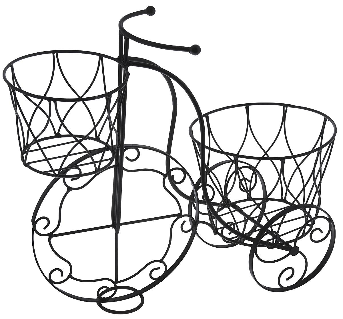 Кашпо Велосипед, цвет: черный, 41 х 18 х 35 см36798Кашпо Велосипед изготовлено из металла в виде велосипеда. Кашпо имеет два отделения для горшков. Кашпо - декоративная ваза для цветочных горшков. Фигурные кашпо для цветов служат объектом декора помещения. Дом, украшенный фигурными кашпо, приобретает свою оригинальность, свой характер. Неожиданные и оригинальные кашпо для цветов - это самый простой и доступный способ сделать дом, дачу или приусадебную территорию неповторимыми. Кашпо Велосипед - красивый и оригинальный сувенир для друзей и близких. Размер кашпо: 41 см х 18 см х 35 см. Диаметр маленького отделения: 14 см. Диаметр большого отделения: 18 см.