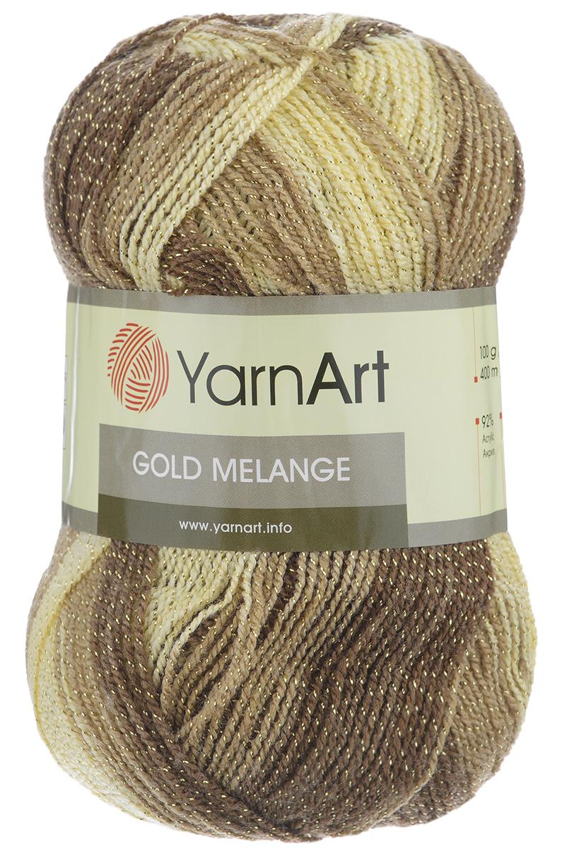 Пряжа для вязания YarnArt Gold Melange, цвет: бежевый, коричневый (9501), 400 м, 100 г, 5 шт372102_9501Пряжа YarnArt Gold Melange изготовлена из акрила с добавлением металлик полиэстера. Цвета плавно переходят один в другой, что очень удобно при вязании жаккардовым узором. Пряжа меланжевая, поэтому подходит для изделий под любой гардероб, идеальна для вязания шарфов и декоративной отделки вязаного изделия. Пряжа окрашена равномерно с помощью стойких высококачественных красителей, нить плотно скручена, полиэстер не выбивается в процессе вязания, петли ложатся равномерно. YarnArt Gold Melange - декоративная пряжа с широкой цветовой палитрой, предназначенная для демисезонной одежды. Акрил защищает готовое изделие от деформации после стирки и сушки. Вяжется легко и быстро. Даже новичкам доступно сделать неповторимое изделие. Стильная пряжа с привлекательным, благородным блестящим эффектом. Рекомендованные спицы и крючок № 2,75-3,25. Состав: 92% акрил, 8% металлик полиэстер.