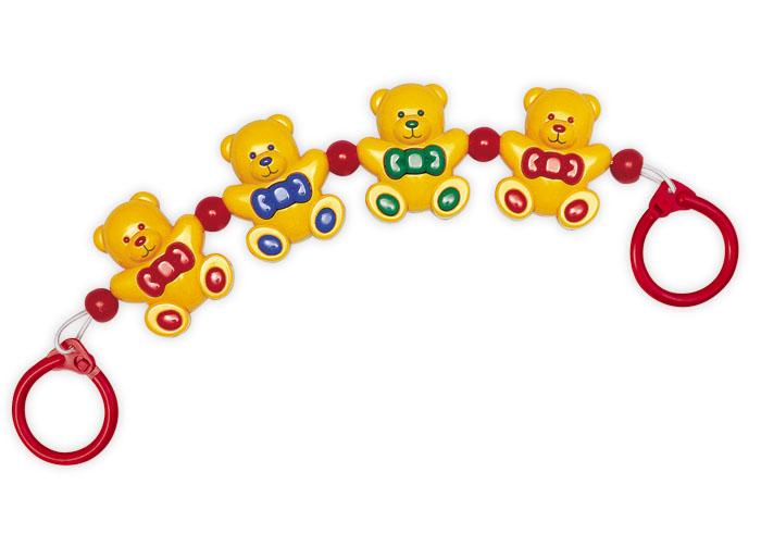 Tolo Classic Гирлянда Медвежата87120Гирлядна Медвежата Tolo toys - это яркие фигурки медвежат, которые привлекут внимание малыша, он захочет потрогать их, а они отзовутся кувырками и звоном. Подвеску-погремушку легко закрепить на кроватке с помощью колечек с защелками по краям. А вся конструкция нанизана на резинку, которая легко растягивается до нужной длины. Играя или наблюдая, ребенок развивает слух, образное восприятие, моторику рук и пальчиков. Маленьким детям нравятся все яркие, подвижные и издающие звуки игрушки – так они познают мир. Медвежата изготовлены из безопасной для здоровья ребенка пластмассы, и можно без опасений использовать игрушку в качестве подвески или дать в руки малышу.