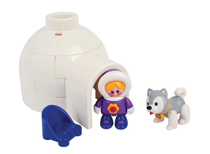 Tolo FF Набор игрушек Иглу87423Здесь живут Эскимосы! В комплект входит иглу, эскимоска, собака хаски и стул. Иглу состоит из 5 деталей, которые защелкиваются вместе, и получается домик, он достаточно большой, чтобы в него поместилась девочка и стул. Стимулирует творческую игру. Помогает развить ловкость и понимание.