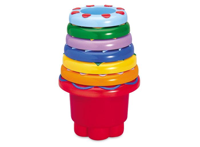 Tolo Classic Набор ведерок (круглые)89650Набор ведерок Пирамидка Радуга Tolo toys состоит из симпатичных формочек-ведерок, которыми можно играть в ванной, саду, на пляже или просто сложить их друг в друга. В набор входит 7 разноцветных пластмассовых стаканчиков с фактурным резиновым покрытием сверху. На дне каждого - углубления различных геометрических форм. Из стаканчиков можно построить башню, а можно сложить их один в один. Игрушка развивает моторику, тактильное восприятие, навыки распознавания цветов и геометрических форм и, как простейший конструктор, является отличным развлеченим для ребенка!