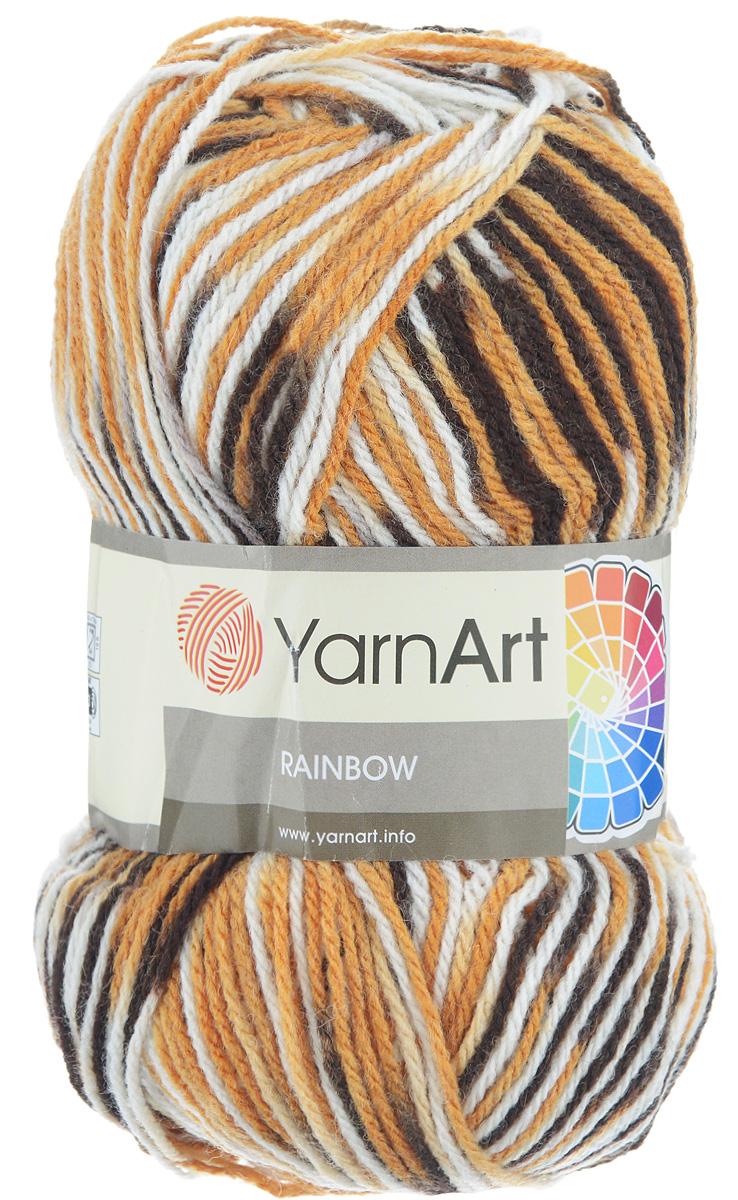 Пряжа для вязания YarnArt Rainbow, цвет: белый, темно-коричневый, светло-коричневый (0573), 310 м, 100 г, 5 шт372030_0573В состав пряжи YarnArt Rainbow входит шерсть и волокна акрила. Такой сбалансированный состав обеспечивает готовым вещам удобство и практичность в использовании, а для мастериц спиц и крючка - возможность показать свое искусство. Классическая демисезонная пряжа YarnArt Rainbow - просто находка для вывязывания плотных теплых вещей. Наличие большого выбора расцветок пряжи предоставляет неограниченный простор для воплощения в реальность самых сложных узоров и мотивов. Качественная деликатная нить послушна и в плотной вязке, и в нежном ажуре. Состав: 80% акрил, 20% шерсть. Рекомендованные спицы и крючок 4 мм. Комплектация: 5 мотков.