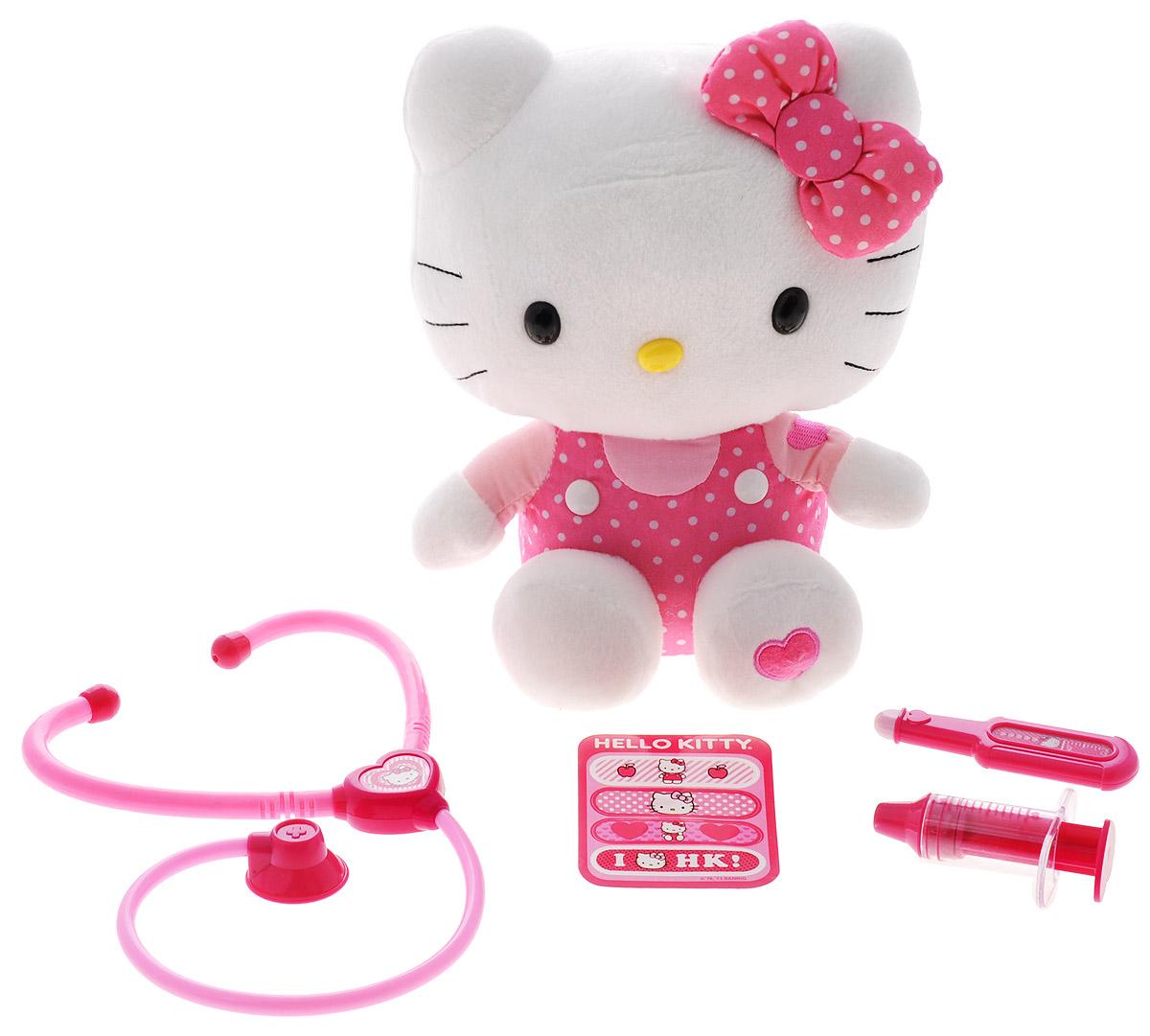 Hello Kitty Игровой набор Маленький докторHKPE6Игровой набор Hello Kitty Маленький доктор не оставит равнодушной ни одну девочку. Набор включает в себя мягкую игрушку Hello Kitty, а также 4 предмета: стетоскоп, термометр, шприц, пластырь. Все предметы оформлены в стиле Hello Kitty. С этим набором можно сделать Китти укол, измерить температуру, послушать ее сердце и дыхание. Ваша малышка часами будет играть с этим восхитительным набором. Порадуйте ее таким замечательным подарком! Для работы игрушки необходимы 2 батарейки типа АА (товар комплектуется демонстрационными).
