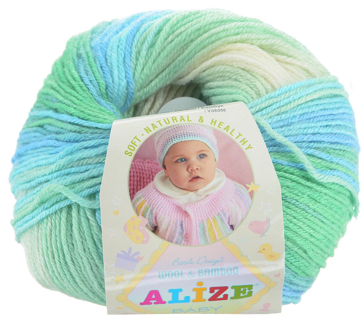 Пряжа для вязания Alize Baby Wool Batik Design, цвет: белый, зеленый, голубой (4389), 175 м, 50 г, 10 шт372104_4389Пряжа Alize Baby Wool Batik Design - это пряжа для ручного вязания детям, состоящая из 40% шерсти, 40% акрила и 20% бамбука. Классическая пряжа, мягкая и шелковистая на ощупь, секционного крашения с длинными переходами цветов. Рекомендуемый размер спиц: №2,5-4. Рекомендуемый размер крючка: №1-3. Состав: 40% шерсть, 40% акрил, 20% бамбук.