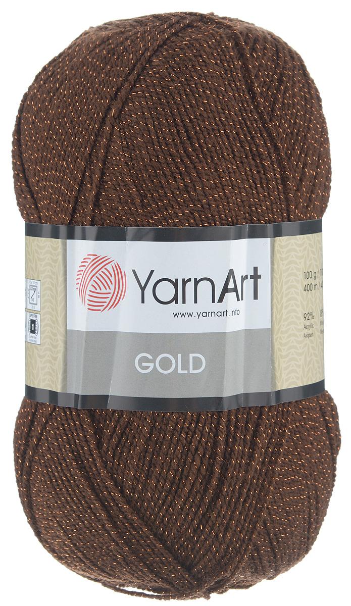 Пряжа для вязания YarnArt Gold, цвет: шоколадный (9032), 400 м, 100 г, 5 шт372007_9032Мерцающая нитка с люрексом для вязания YarnArt Gold равномерно окрашена с помощью стойких высококачественных красителей, нить плотно скручена, люрекс не выбивается в процессе вязания, петли ложатся равномерно. YarnArt Gold - декоративная пряжа с широкой цветовой палитрой, предназначенная для демисезонной одежды. Акрил защищает готовое изделие от деформации после стирки и сушки. Нить гибкая и эластичная, хорошо тянется, превосходно сохраняет форму после носки. Изысканная пряжа для создания вечерних нарядов выглядит дорого и стильно. Рекомендуется для вязания на спицах №2,75 и крючке №3,25. Состав: 92% акрил, 8% металлик полиэстер (метанит).