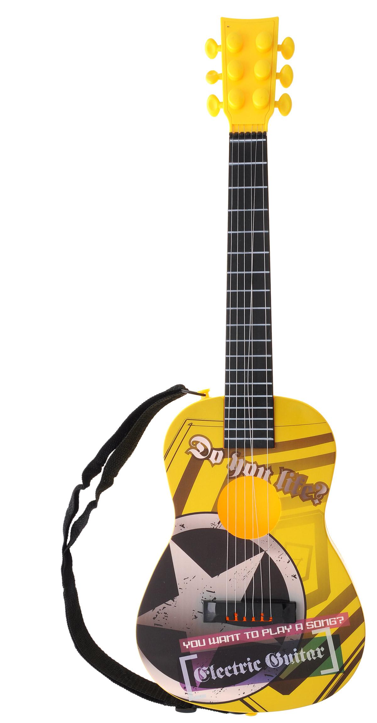 Junfa Toys Музыкальный инструмент Гитара цвет желтый9058AЯркая шестиструнная гитара Junfa Toys послужит замечательным подарком для вашего ребенка. Гитара выполнена из пластика желтого цвета. Струны гитары, изготовленные из металлической проволоки, можно подтягивать, тем самым регулируя звучание. Благодаря прочной текстильной лямке гитару можно повесить через плечо. Гитара обладает световыми эффектами и издает реалистичные звуки, что, несомненно, понравится ребенку. Уже с раннего детства ваш малыш будет приучаться к музыке. Гитара Junfa Toys поможет ребенку в развитии слуха и творческих способностей. Необходимо купить 3 батарейки напряжением 1,5V типа АА (не входят в комплект).