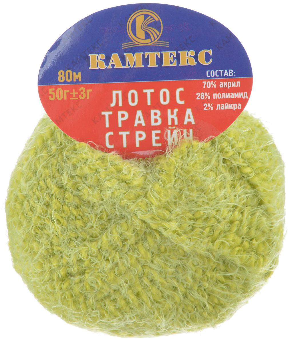 Пряжа для вязания Камтекс Лотос травка стрейч, цвет: салатовый (026), 80 м, 50 г, 10 шт136081_026Пряжа для вязания Камтекс Лотос травка стрейч имеет интересный и необычный состав: 70% акрил, 28% полиамид, 2% лайкра. Акрил отвечает за мягкость, полиамид за прочность и формоустойчивость, а лайкра делает полотно необыкновенно эластичным. Эта волшебная плюшевая ниточка удивляет своей мягкостью, вяжется очень просто и быстро, ворсинки не путаются. Из этой пряжи получатся замечательные мягкие игрушки, которые будут не только приятны, но и абсолютно безопасны для маленьких детей. А яркие и сочные оттенки подарят ребенку радость и хорошее настроение. Рекомендуемый размер крючка и спиц: №3-6. Состав: 70% акрил, 28% полиамид, 2% лайкра.
