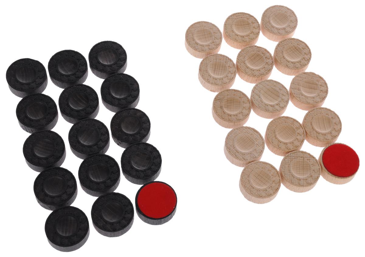 Фишки для нард Компания игра, цвет: светло-коричневый, темно-коричневый, 30 шт. 60046004Нарды - старинная игра, которая пользуется популярностью в народе среди самых разных слоев населения, несмотря на свой солидный возраст - история игры насчитывает несколько столетий. Фишки для нард Компания игра изготовлены из высококачественного дерева, оснащены матерчатой подложкой и оформлены оригинальным орнаментом. В наборе - 30 фишек двух цветов. Такой набор станет полезным как новичкам, так и любителям этой увлекательной игры! Диаметр фишки: 3 см. Комплектация: 30 шт.