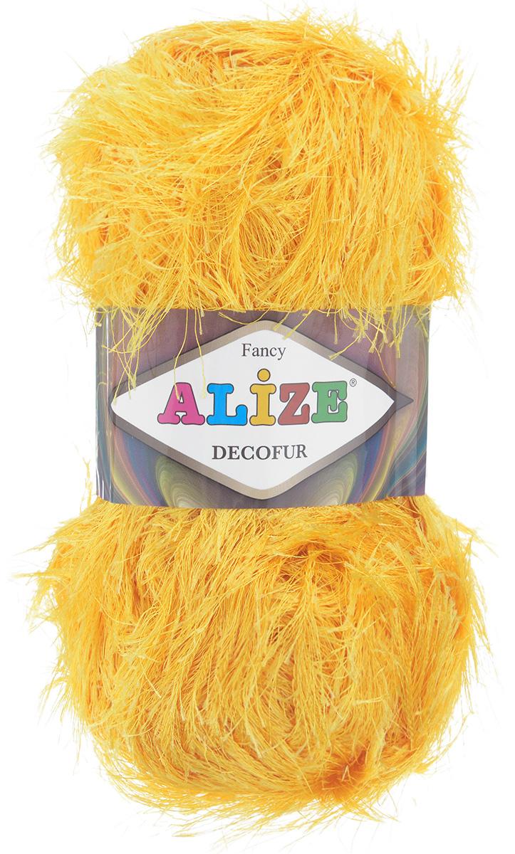 Пряжа для вязания Alize Decofur, цвет: желтый (216), 110 м, 100 г, 5 шт364128_216Пряжа Decofur изготовлена из высококачественного полиэстера. Пряжа - травка используется как для вязания самостоятельных пушистых изделий, так и для отделки. Это могут быть нарядные кофточки, куртки, накидки, шарфы, шапки, шали, предметы домашнего интерьера, игрушки и многое другое. Рекомендованные спицы для вязания: 6-8 мм. Рекомендованный крючок для вязания: 3-4 мм. Состав: 100% полиэстер.