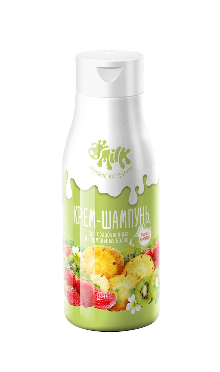 Milk Крем-шампунь Бодрящий мультифрукт для ослабленных и нормальных волос, 500 мл