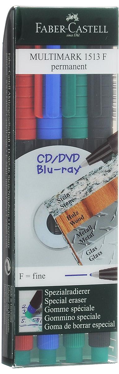 Faber-Castell Капиллярная перманентная ручка Multimark F для письма на CD 4 цвета151304Капиллярная перманентная ручка Multimark предназначена для письма на CD, DVD дисках, пленках для проекторов и других гладких поверхностях. Ручка с обратной стороны содержит специальный ластик для стирания чернил. Чернила быстросохнущие, с яркими цветами, корпус изготовлен из прочного пластика. В наборе 4 цвета: черный, красный, синий, зеленый.