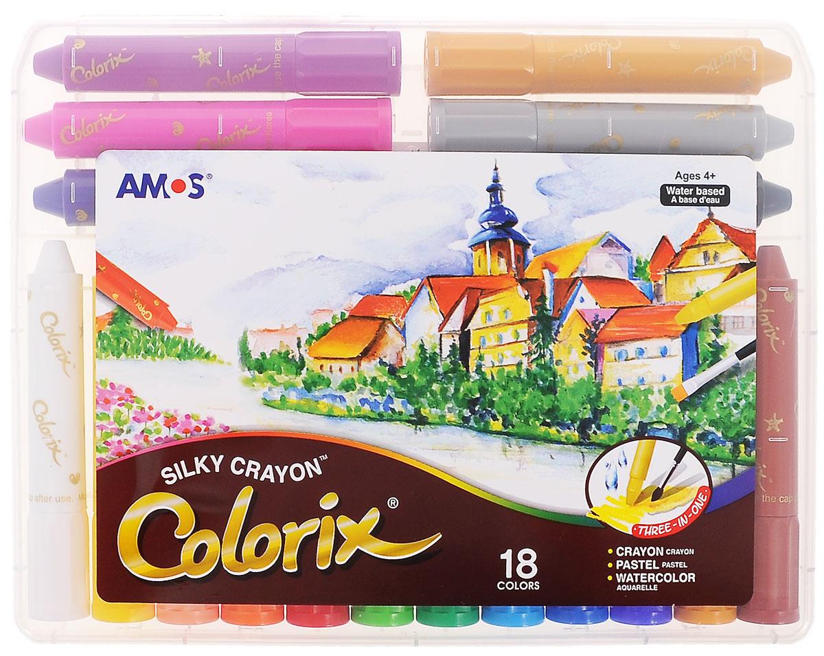 Amos Цветные карандаши Colorix, 18 цветовCRX5PC18Цветные карандаши Amos Colorix идеальный инструмент для самовыражения и развития маленького художника! Карандаши имеют уникальную восьмиугольную форму. В наборе представлены 18 цветных карандашей. Оснащены карандаши колпачками, чтобы снять его, слегка поверните по часовой стрелке. Использовать такие карандаши можно в трех вариантах: мелки для создания яркой плотной текстуры, пастель, чтобы создать мягкую растушевку и смешивать цвета, акварель для придания оттенков и эффектов. Карандаши не пачкаются, не токсичны и не имеют запаха. Рекомендуемый возраст: от 4 лет.