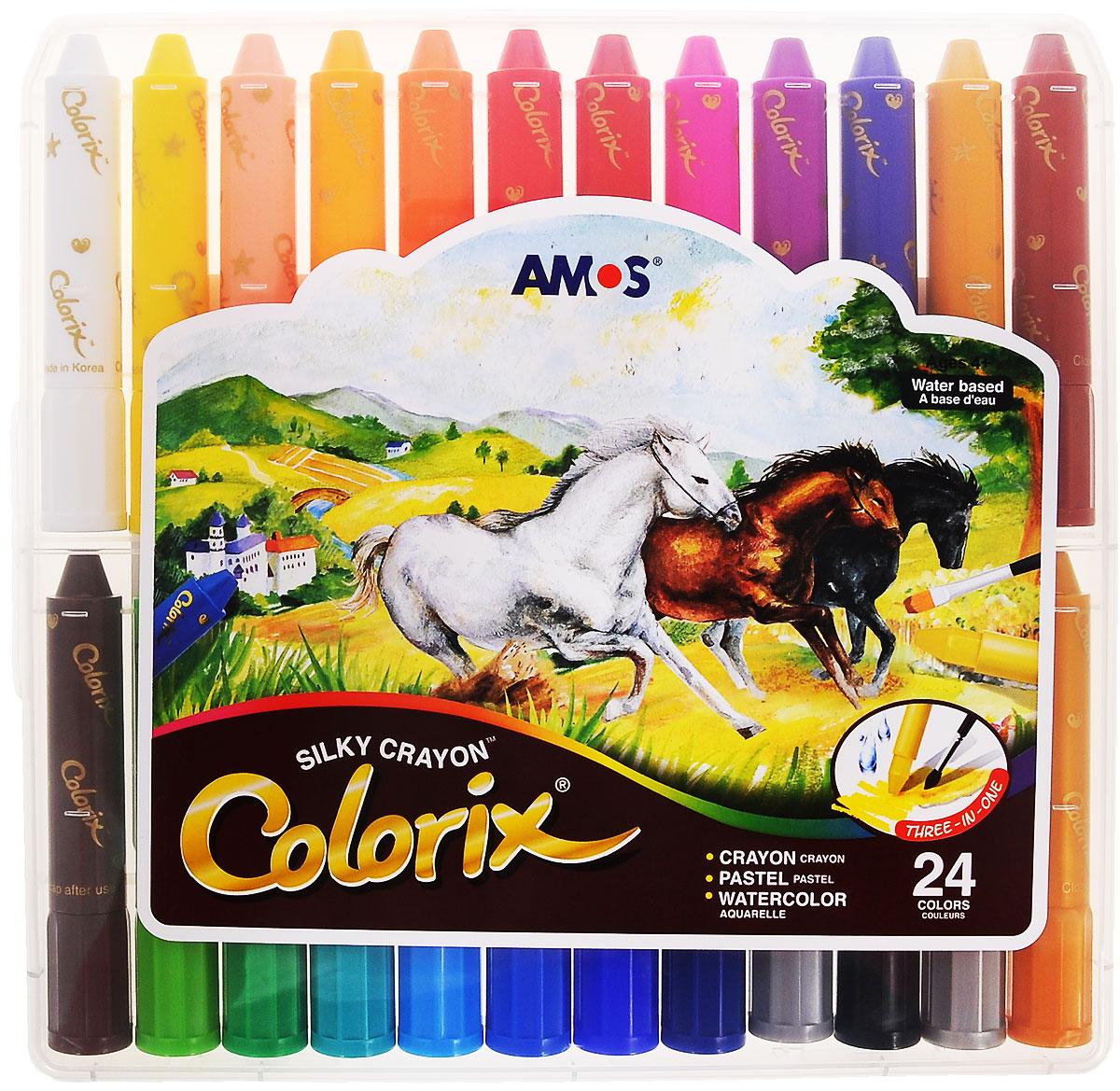 Amos Цветные карандаши Colorix, 24 цветаCRX5PC24Цветные карандаши Amos Colorix идеальный инструмент для самовыражения и развития маленького художника! Карандаши имеют уникальную восьмиугольную форму. В наборе представлены 12 цветных карандашей (коричневый, черный, фиолетовый, синий, голубой, салатовый, зеленый, красный, оранжевый, оранжево-розовый, желтый, белый). Оснащены карандаши колпачками, чтобы снять его, слегка поверните по часовой стрелке. Использовать такие карандаши можно в трех вариантах: мелки для создания яркой плотной текстуры, пастель, чтобы создать мягкую растушевку и смешивать цвета, акварель для придания оттенков и эффектов. Карандаши не пачкаются, не токсичны и не имеют запаха. Рекомендуемый возраст: от 4 лет.