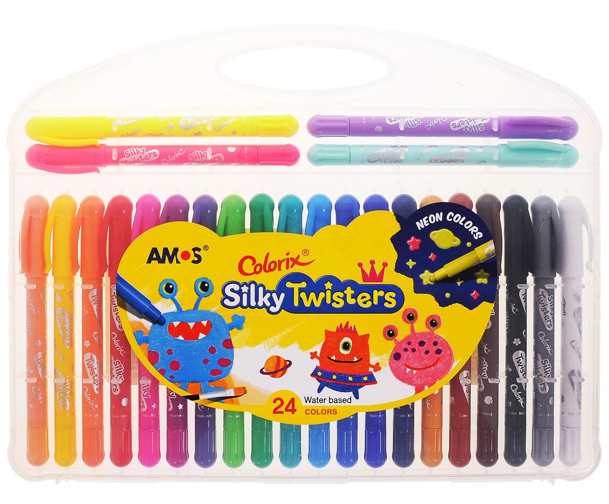 Цветные неоновые карандаши Amos Silky Twisters идеальный инструмент для самовыражения и развития маленького художника! В наборе представлены 24 цветных карандаша. Оснащены они колпачками с клипами. Использовать такие карандаши можно в трех вариантах: мелки для создания яркой плотной текстуры, пастель, чтобы создать мягкую растушевку и смешивать цвета (растушуйте пальцами), акварель для придания оттенков и эффектов (понадобятся кисточка и вода). После использования необходимо плотно закрывать колпачками. Карандаши не пачкаются, не токсичны и не имеют запаха. Рекомендуемый возраст: от 3 лет.