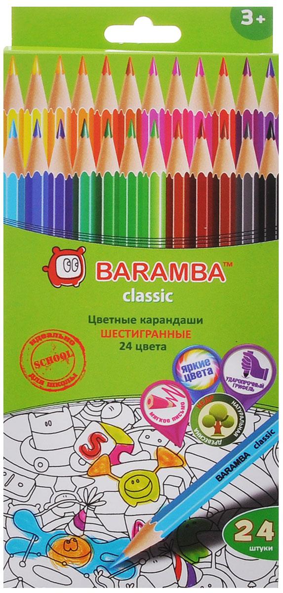 Baramba Цветные карандаши Classic, 24 цветаB33124_без точилкиЦветные карандаши Baramba Classic откроют юным художникам новые горизонты для творчества, а также помогут отлично развить мелкую моторику рук, цветовое восприятие, фантазию и воображение. Традиционный шестигранный корпус изготовлен из натуральной древесины, гладкость которого обеспечена многослойной покраской. Карандаши удобно держать в руках, а мягкий грифель не требует сильного нажима и легко стирается ластиком. Комплект включает 24 заточенных карандаша ярких насыщенных цветов.