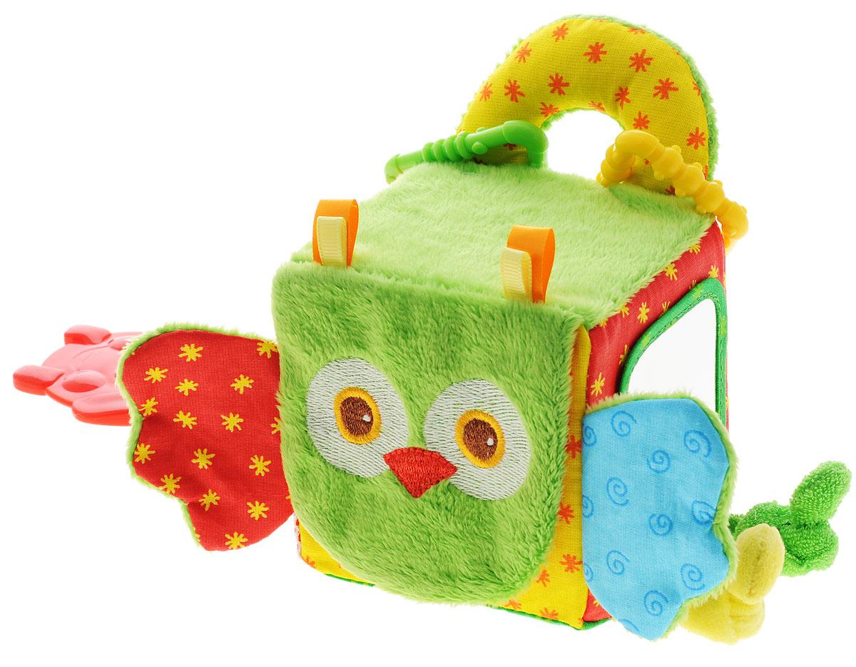 Мякиши Развивающая игрушка Кубик сова307Развивающая игрушка Мякиши Кубик сова - это яркий развивающий тренажер для вашего малыша. Игрушка выполнена в виде кубика с мордочкой совы. Красочное оформление и множество занимательных игровых элементов помогут сенсорному и эмоциональному развитию вашего малыша и подарят ему радость. Звуковые элементы стимулируют работу слуховых анализаторов. Забавный образ совы и элементы игры обеспечивают эмоциональное развитие малыша. У совы имеется: подвижная мордочка, шелестящие ушки, погремушка, разнофактурные материалы, безопасное зеркальце, разъемные колечки для подвешивания на коляску, мягкая текстильная ручка, прорезыватель, грань с узелками-тесемками, карман-сетка. Игрушка идеально подходит для самых маленьких, поскольку у них нет острых углов. Удачно подобранный размер, цвет, звук, яркие и понятные рисунки, развивают мышление, координацию движений, совершенствуют мелкую моторику маленьких детских пальчиков.