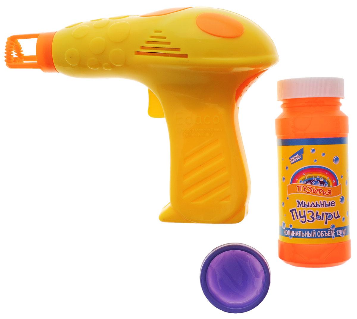 Пузырия Набор для пускания мыльных пузырей Пузырьмет305Все дети обожают пускать мыльные пузыри, а с набором для пускания мыльных пузырей Пузырия Пузырьмет это будет еще интереснее! Набор состоит из пистолета для пускания мыльных пузырей и мыльного раствора и ванночки для для мыльного раствора. Пистолет выполнен в яркой цветовой гамме. Налейте раствор в ванночку примерно до половины глубины, окуните кольца приспособления в раствор и направьте приспособление в сторону. Нажмите на пусковой крючок несколько раз. Игрушка будет пускать красочные пузыри, которые будут переливаться всеми цветами радуги и парить в воздухе, радуя всех окружающих. Для работы игрушки необходимо купить 2 батарейки напряжением 1,5V типа АА (не входят в комплект).