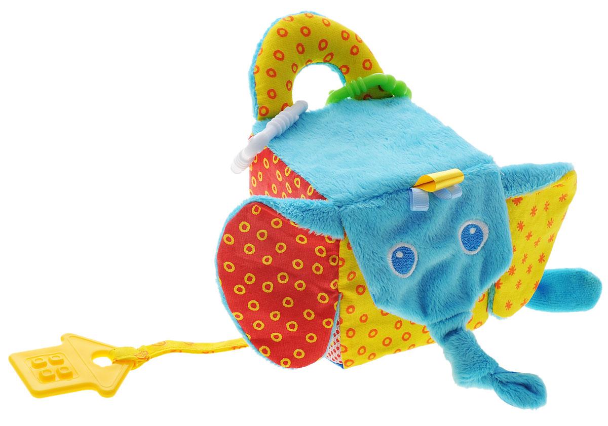 Мякиши Мягкая развивающая игрушка Кубик слон306Мягкая развивающая игрушка Мякиши Кубик слон не оставит вашего малыша равнодушным и не позволит ему скучать. Игрушка выполнена из текстильного материала различных цветов и фактур в виде кубика с мордочкой слона. Внутри кубика спрятана сфера, гремящая при тряске. Ушки слона выполнены из шуршащего материала. По бокам игрушка оснащена карманом-сетка и безопасным зеркальцем. На текстильном шнурке подвешен прорезыватель в виде домика. Разъемные колечки, позволят наслаждаться игрушкой везде, подвесив ее на коляску, кроватку автокресло. Удачно подобранный размер и цвет развивают мышление, цветовое и слуховое восприятие, координацию движений и совершенствуют моторику нежных пальчиков малыша.