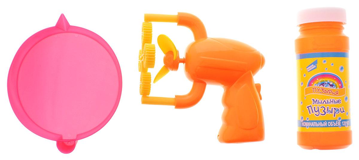 Пузырия Набор для пускания мыльных пузырей Пузырьверк301Все дети обожают пускать мыльные пузыри, а с набором Пузырьверк это будет еще интереснее! Набор состоит из мини-пистолета для пускания пузырей, ванночки для жидкого наполнителя и баночки с мыльным раствором. Налейте мыльный раствор в ванночку, окуните кольца пузырьверка в раствор, направьте приспособление в сторону и нажмите пуск, чтобы выпустить очередь мыльных пузырей, которые будут переливаться всеми цветами радуги и парить в воздухе, радуя всех окружающих. Веселье дома и на улице! Устройте праздник мыльных пузырей, сделайте свой день незабываемым вместе с таким набором! Для работы игрушки необходимо купить батарейку напряжением 1,5V типа АА (не входит в комплект).