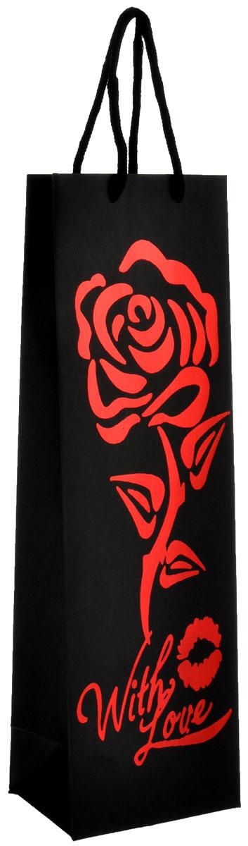 """Бумажный подарочный пакет Феникс-Презент """"Роза"""", 12 см х 9 см х 39 см 35575"""