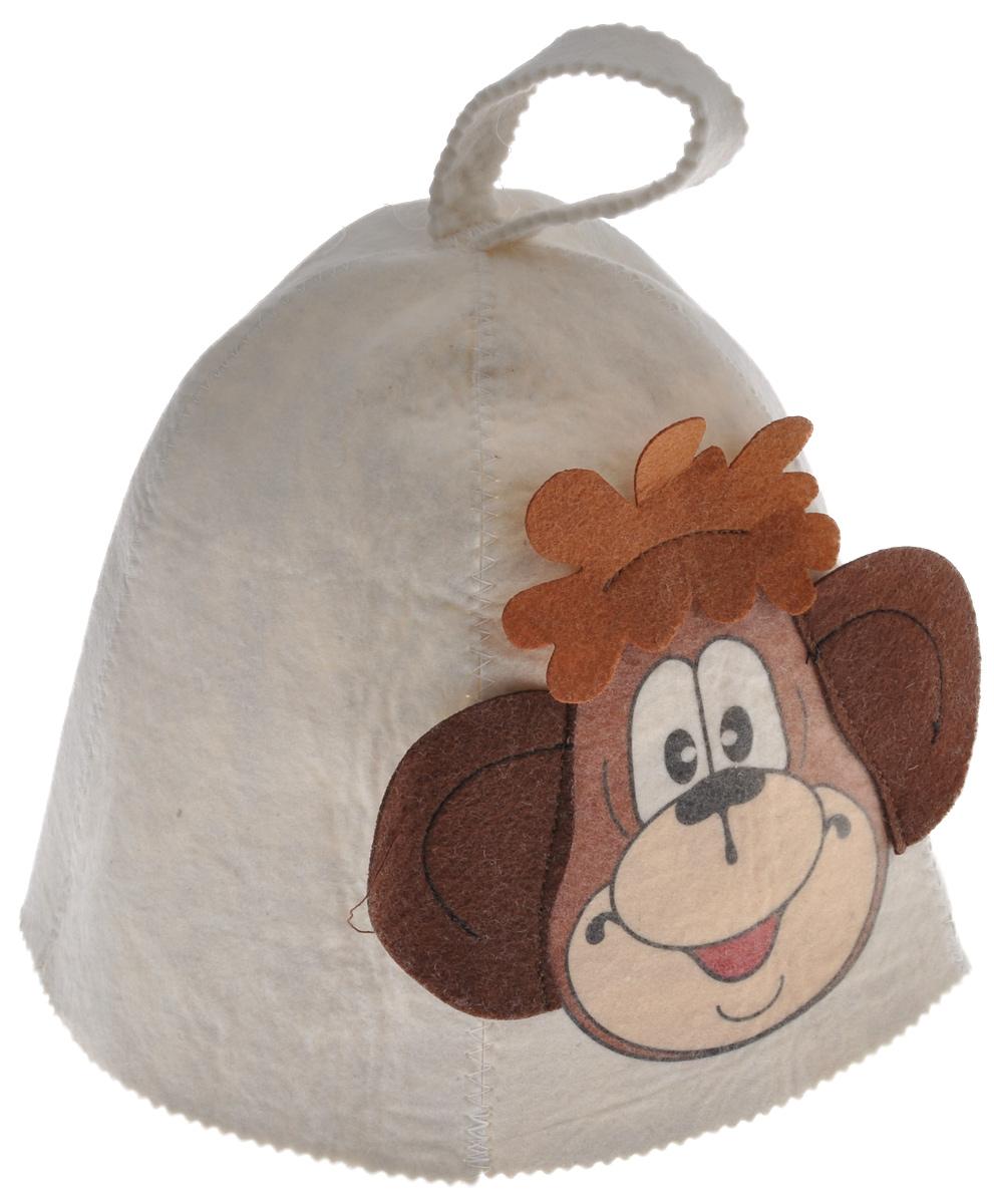 Шапка для бани и сауны Банные штучки Обезьянка41150Шапка для бани и сауны Банные штучки выполнена из войлока и оформлена аппликацией в виде смешной обезьянки. Это незаменимый атрибут в бане, она предотвращает сухость и ломкость волос, а также защищает от головокружения. Размер универсальный. Имеется петелька, за которую шапку можно повесить на крючок. Высота шапки: 24 см. Диаметр основания шапки: 36 см.