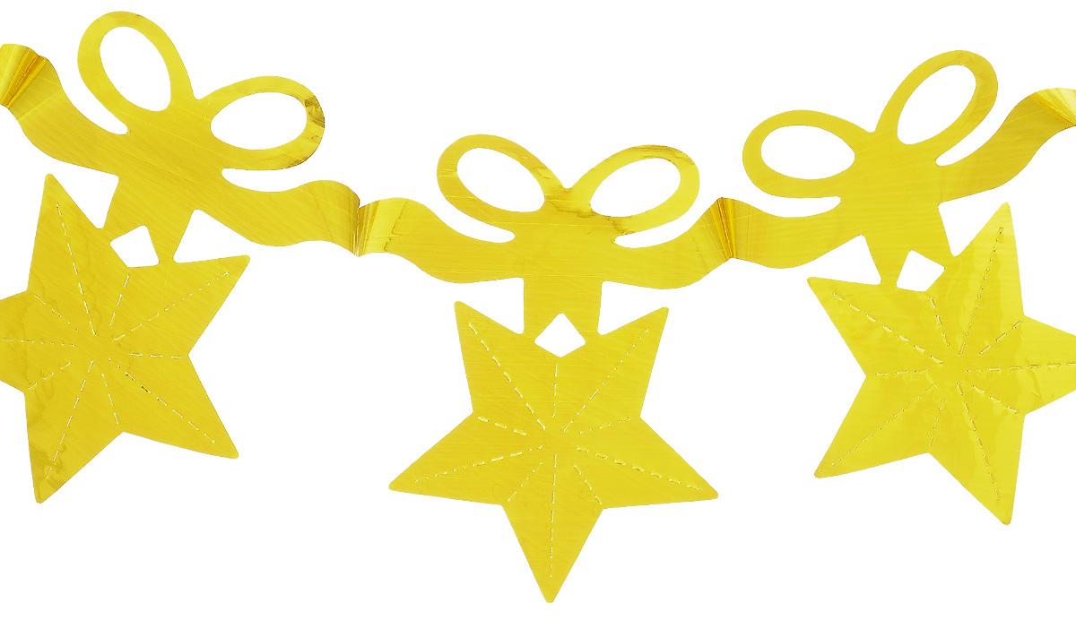 Новогодняя гирлянда Феникс-презент Звезды с бантиком, цвет: золотистый, длина 2,7 м30959Гирлянда Феникс-презент Magic Time идеально подойдет для декорирования интерьера в преддверии Нового Года. Изделие выполнено из блестящего полиэтилена в виде звезды с бантиком. Оригинальный дизайн и красочное исполнение создадут праздничное настроение. Новогодние украшения всегда несут в себе волшебство и красоту праздника. Создайте в своем доме атмосферу тепла, веселья и радости, украшая его всей семьей. Размер гирлянды: 13 см х 16 см.