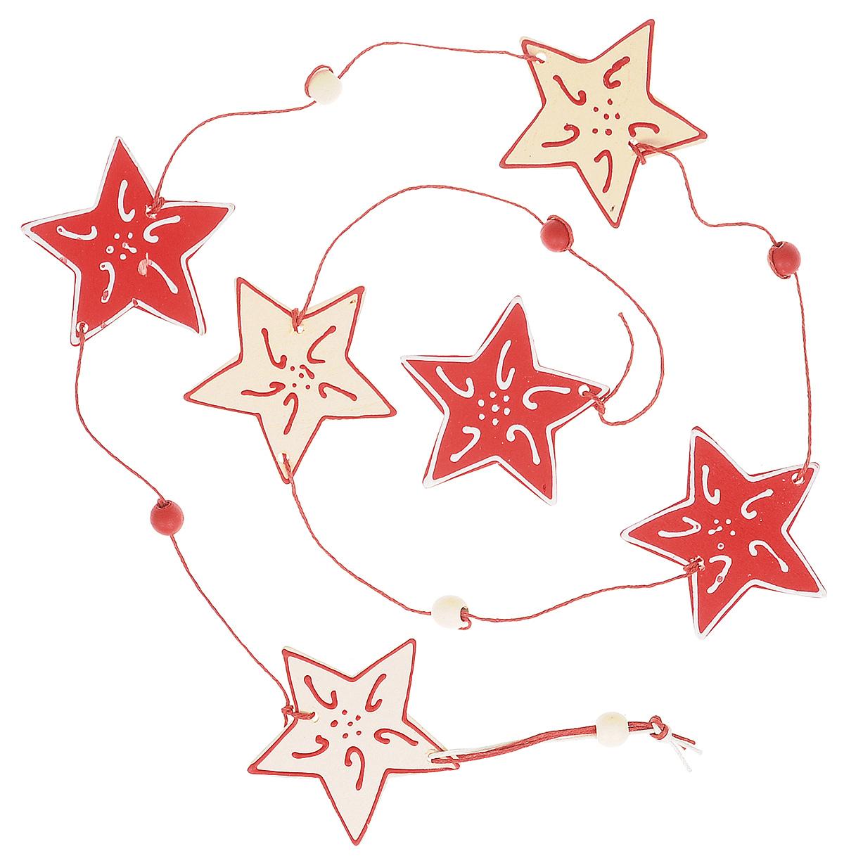 Новогоднее подвесное украшение Lunten Ranta Праздничная гирлянда, длина 100 см59579Новогоднее украшение Lunten Ranta Праздничная гирлянда отлично подойдет для декорации вашего дома и праздничной ели. Изделие выполнено в виде длинной подвески, декорированной деревянными фигурками звезд, нанизанными на текстильную нить. Елочная игрушка - символ Нового года. Она несет в себе волшебство и красоту праздника. Создайте в своем доме атмосферу веселья и радости, украшая всей семьей новогоднюю елку нарядными игрушками, которые будут из года в год накапливать теплоту воспоминаний. Размер фигурки (звезды): 6 см х 6 см х 0,5 см.