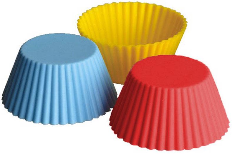Набор форм Regent Inox Тарталетки, силиконовый, 6 предметов93-SI-S-17Набор Regent Inox Тарталетки состоит из 6 форм, выполненных из силикона красного, жёлтого и синего цветов. Формы предназначены для выпечки и заморозки. Стенки форм рельефные. Силиконовые формы для выпечки имеют много преимуществ по сравнению с традиционными металлическими формами и противнями. Они идеально подходят для использования в микроволновых, газовых и электрических печах при температурах до +230°С. В случае заморозки до -40°С. За счет высокой теплопроводности силикона изделия выпекаются заметно быстрее. Благодаря гибкости и антиприлипающим свойствам силикона, готовое изделие легко извлекается из формы. Для этого достаточно отогнуть края и вывернуть форму (выпечке дайте немного остыть, а замороженный продукт лучше вынимать сразу). Силикон абсолютно безвреден для здоровья, не впитывает запахи, не оставляет пятен, легко моется. С такой формой вы всегда сможете порадовать своих близких оригинальной выпечкой.