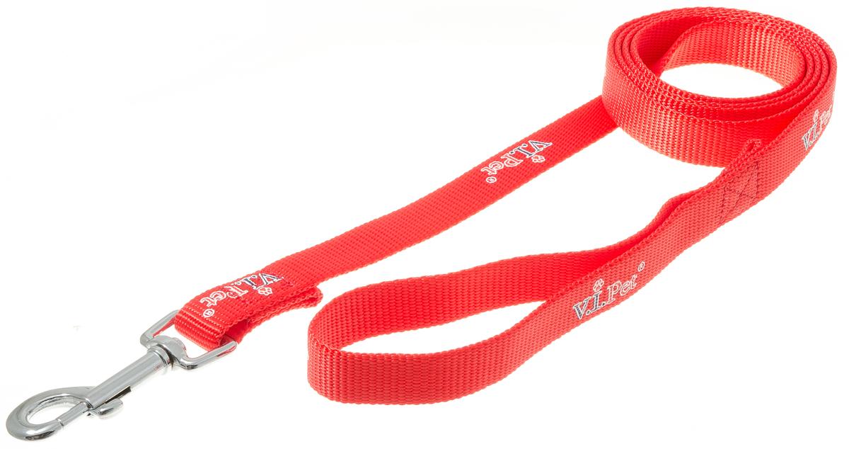 Поводок с карабином V.I.Pet 20мм * 1,5м (красный) 73-085773-0857