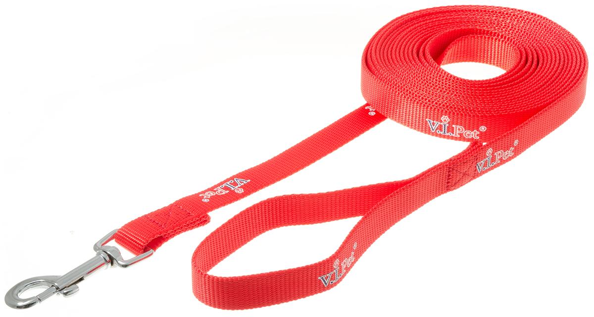 Поводок с карабином V.I.Pet 20мм * 5 м (красный) 73-086073-0860