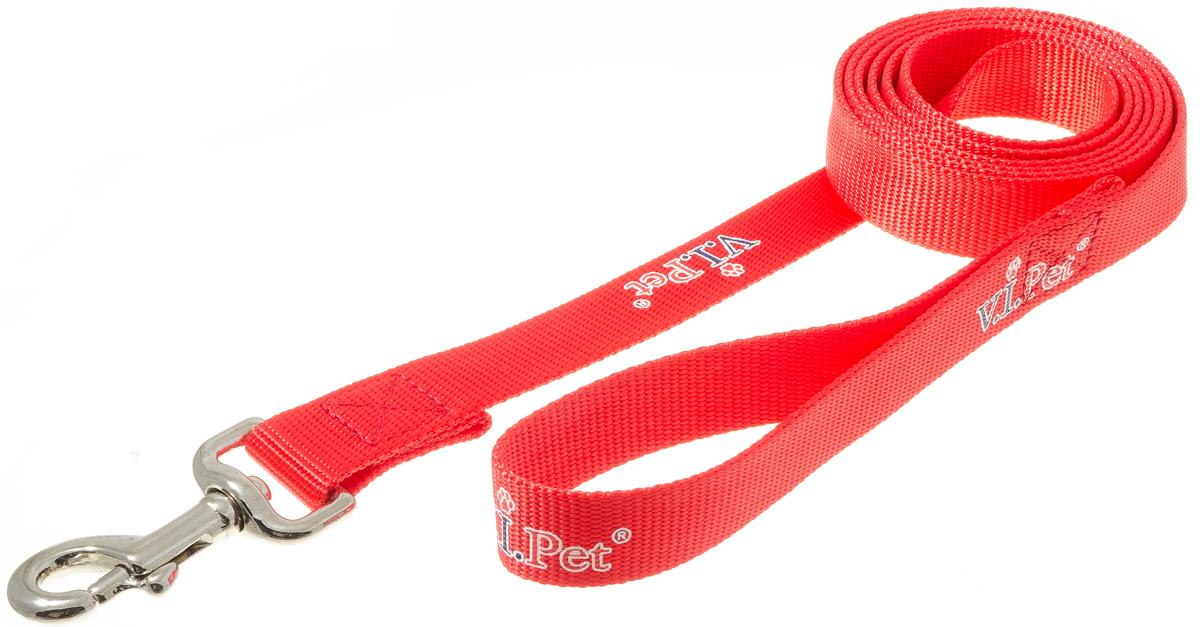 Поводок с карабином V.I.Pet 25мм * 2м (красный) 73-086473-0864