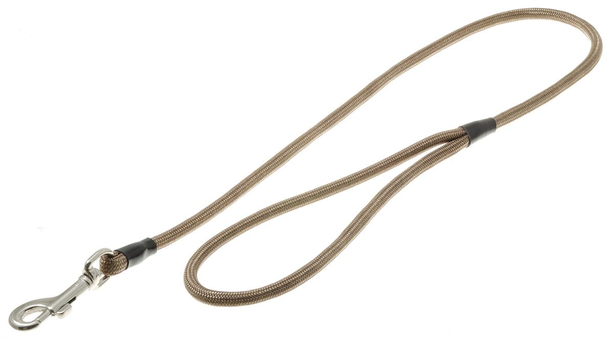 Поводок для собак V.I.Pet, цвет: оливковый, диаметр 6 мм, длина 70 см73-0894Поводок с карабином V.I.Pet, изготовленный из нейлона, предназначен для выставок и повседневного выгула. Материал поводка отличается повышенной прочностью, мало подвержен механическому воздействию, поэтому надолго сохранит аккуратный внешний вид и насыщенность цвета. Вращающийся вертлюг карабина предотвращает перекручивание поводка.