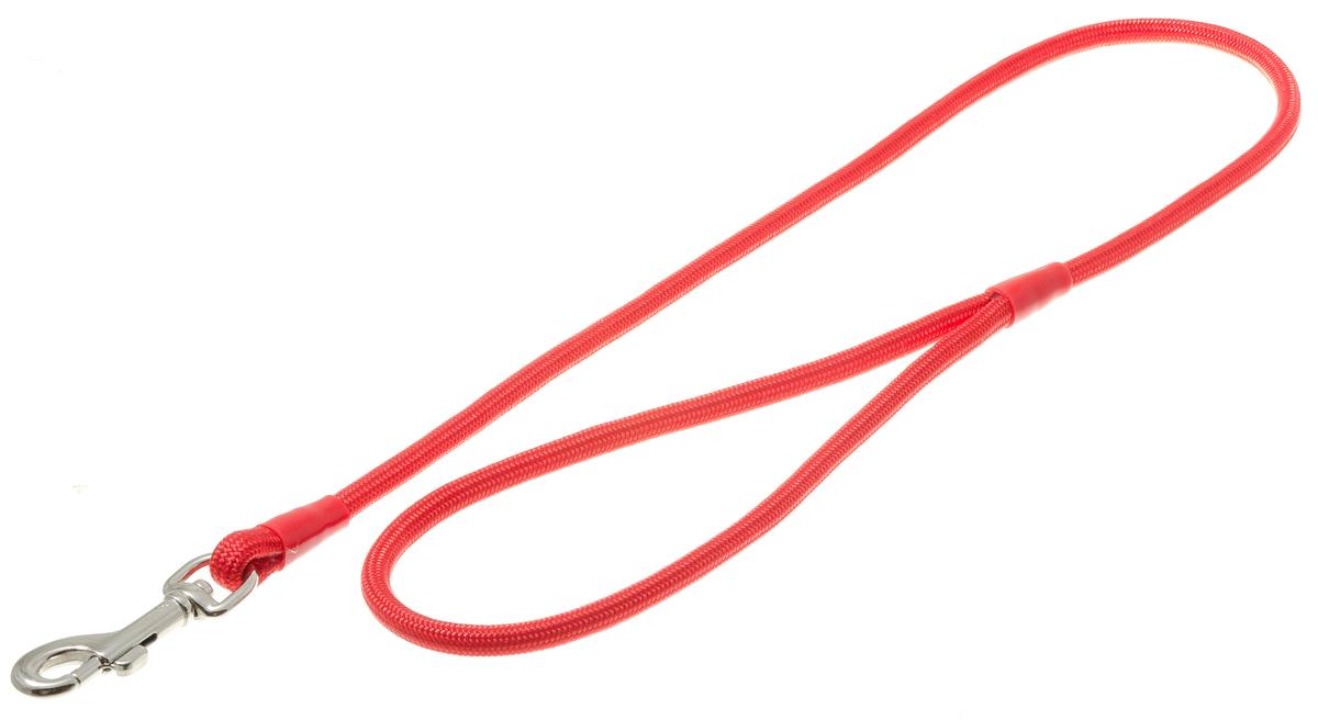 Поводок для собак V.I.Pet, цвет: красный, диаметр 6 мм, длина 70 см73-0895Поводок с карабином V.I.Pet, изготовленный из нейлона, предназначен для выставок и повседневного выгула. Материал поводка отличается повышенной прочностью, мало подвержен механическому воздействию, поэтому надолго сохранит аккуратный внешний вид и насыщенность цвета. Вращающийся вертлюг карабина предотвращает перекручивание поводка.
