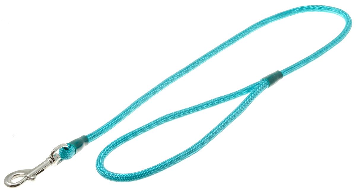 Поводок для собак V.I.Pet, цвет: бирюзовый, диаметр 6 мм, длина 70 см73-0897Поводок с карабином V.I.Pet, изготовленный из нейлона, предназначен для выставок и повседневного выгула. Материал поводка отличается повышенной прочностью, мало подвержен механическому воздействию, поэтому надолго сохранит аккуратный внешний вид и насыщенность цвета. Вращающийся вертлюг карабина предотвращает перекручивание поводка.