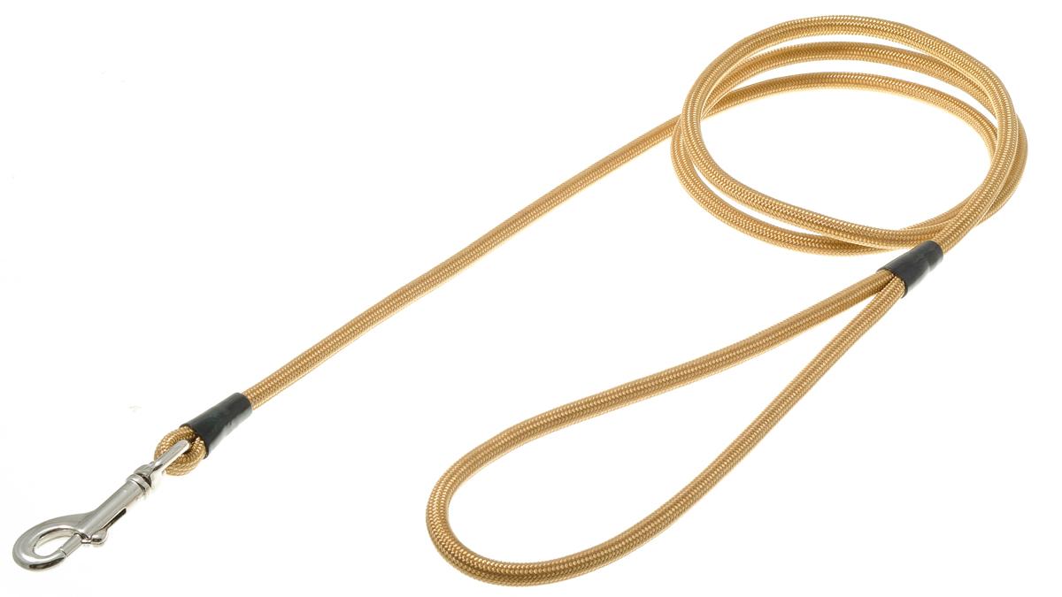 Поводок для собак V.I.Pet, цвет: золото, диаметр 6 мм, длина 130 см73-0914Поводок с карабином V.I.Pet, изготовленный из нейлона, предназначен для выставок и повседневного выгула. Материал поводка отличается повышенной прочностью, мало подвержен механическому воздействию, поэтому надолго сохранит аккуратный внешний вид и насыщенность цвета. Вращающийся вертлюг карабина предотвращает перекручивание поводка.