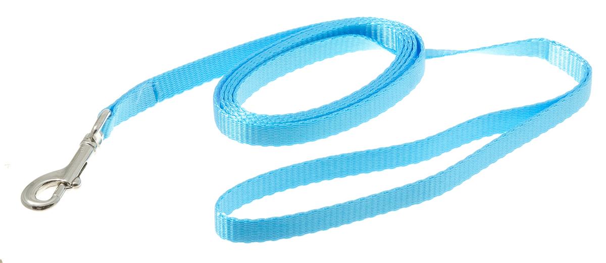 Поводок для собак V.I.Pet, цвет: голубой, ширина 10 мм, длина 2 м73-0931Поводок с карабином V.I.Pet, изготовленный из нейлона, предназначен для выставок и повседневного выгула. Материал поводка отличается повышенной прочностью, мало подвержен механическому воздействию, поэтому надолго сохранит аккуратный внешний вид и насыщенность цвета. Вращающийся вертлюг карабина предотвращает перекручивание поводка.
